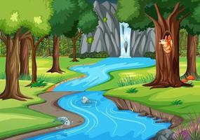 Escena de la selva con muchos árboles y cascadas. vector