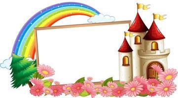 Banner vacío con arco iris y castillo de fantasía. vector