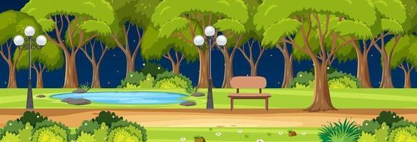parque escena horizontal en la noche con muchos árboles vector