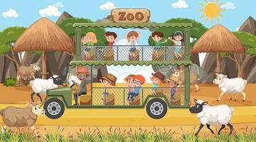 Safari en escena diurna con niños viendo grupo de ovejas. vector