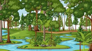 El río fluye a través de la escena del bosque durante el día. vector