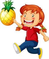 personaje de dibujos animados de niña feliz sosteniendo una piña vector