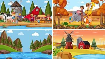 conjunto de diferentes escenas de la naturaleza de fondo en estilo de dibujos animados vector