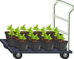Muchas macetas en carro de jardín aislado vector