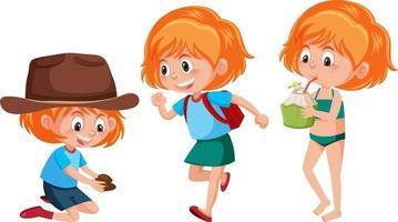 personaje de dibujos animados de una niña haciendo diferentes actividades vector