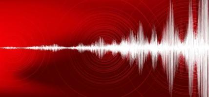 Onda de terremoto digital con vibración circular sobre fondo rojo oscuro, concepto de diagrama de onda de audio, diseño para educación y ciencia, ilustración vectorial. vector