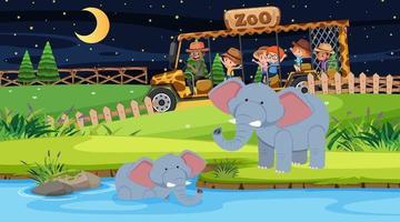 Safari en la escena nocturna con muchos niños viendo un grupo de elefantes. vector