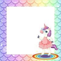Plantilla de marco de escamas de pescado arco iris pastel en blanco con lindo personaje de dibujos animados de unicornio vector