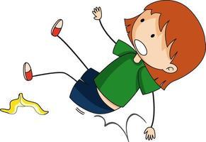 Doodle personaje de dibujos animados de una niña cayendo vector