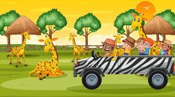 Safari en la escena del atardecer con niños viendo grupo de jirafas vector