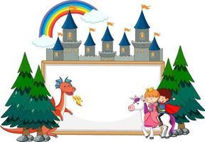 Banner vacío con personaje de dibujos animados de cuento de hadas y elementos aislados vector