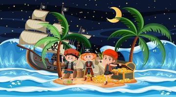 escena de la isla del tesoro en la noche con niños piratas vector