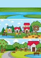 Conjunto de fondo de diferentes escenas de horizonte con personaje de dibujos animados de niños doodle vector