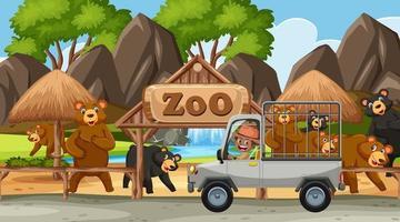 Escena de safari con muchos osos en el coche de la jaula. vector