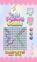 juego de escalera de serpiente en tema unicornio pastel vector