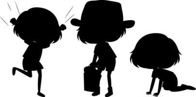 conjunto, de, niños, silueta, caricatura, carácter vector