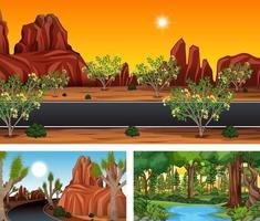 Different nature horizontal scenes vector