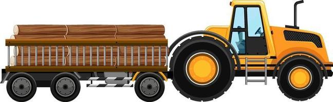 Set of tow truck carrying woods isolated background vector