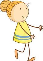 personaje de dibujos animados linda chica en estilo doodle dibujado a mano aislado vector
