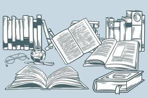 conjunto de libros dibujados a mano en la ilustración de vector de estilo doodle. Escena de dibujos animados de doodle sobre lectura y aprendizaje. concepto de educación. varios libros, anteojos y herramientas de escritura en estilo vintage.