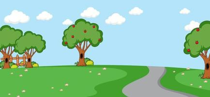 Empty park landscape scene with long road vector