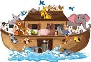 Arca de Noé con animales en onda de agua aislado sobre fondo blanco. vector