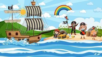 escena de la isla del tesoro durante el día con niños piratas vector