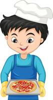 Cartoon character of a chef boy holding a tray of pizza vector