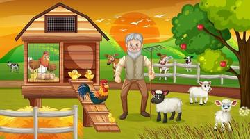 Farm at sunset time scene with old farmer man and farm animals
