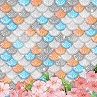 Pastel fish scales background with many flowers vector