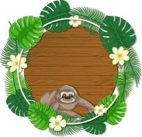 Round green monstera leaves banner template with a sloth cartoon character vector