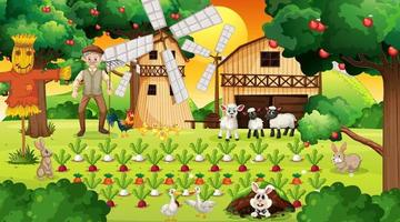 Farm scene at sunset with old farmer man and cute animals