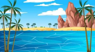 Tropical beach landscape scene at day time vector