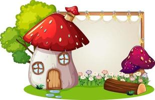 Blank banner in the garden with mushroom house isolated vector