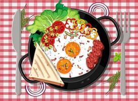 Top view of breakfast set in the pan vector