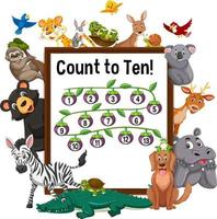 Count to ten board with wild animals vector