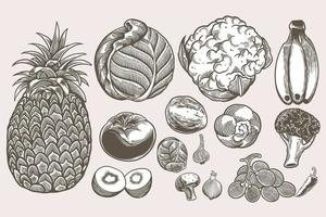 Vegan doodle set collection of hand drawn sketches templates vintage engraving doodle. Detailed isolated elements on white background, perfect for menu, book design. Vintage retro food images. vector