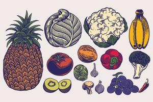 gran conjunto de verduras ilustraciones dibujadas a mano en estilo grabado. bocetos de diferentes alimentos. elementos aislados detallados sobre fondo blanco, perfecto para menú, diseño de libros. concepto de estilo de vida saludable vector