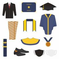 Graduation ceremony clothes and accessories set. Bachelor gown, tie, mask, shoes, graduation toga robe, graduation slayer, graduation medal, graduation tube and cap in cartoon style. Flat vector icon