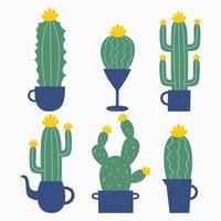 conjunto de seis ilustraciones de cactus y suculentas de dibujos animados con caras divertidas en macetas. cactus con ilustración de color verde claro. se puede utilizar para tarjetas, invitaciones o como pegatina vector
