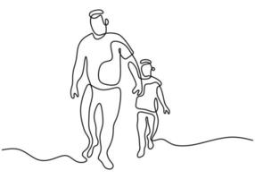 Father holding his son walking together continuous one line drawing. Happy little kid spending time with his daddy at home. Family time concept hand drawn line art. Vector minimalist design