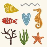 conjunto de peces, corales, algas, estrellas de mar, caballitos de mar y otros habitantes del océano aislado sobre fondo blanco. mundo animal submarino. personaje de dibujos animados de vector. vector