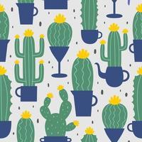 Linda mano dibujada de patrones sin fisuras con cactus de dibujos animados y suculentas en macetas. ilustración vectorial. Se puede utilizar como patrón para textiles, papel de regalo, tarjetas e invitaciones a fiestas. vector