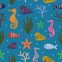 animales marinos de patrones sin fisuras. mundo submarino como estrellas de mar, conchas marinas, caballitos de mar, algas, arrecifes de coral, pececillos de colores y otros habitantes. ilustración vectorial aislado sobre fondo azul vector