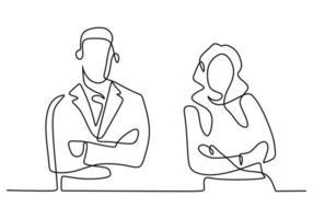 dibujo de línea continua de dos empresarios de pie posan con los brazos cruzados. empresario y empresaria de pie con pose suave y segura. Ilustración de vector de diseño minimalista