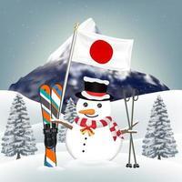 Muñeco de nieve y equipo de esquí en Japón Winter Hill vector
