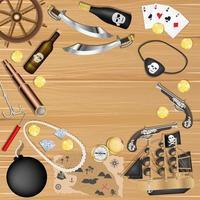 Objetos piratas sobre un fondo de tablero de madera vector