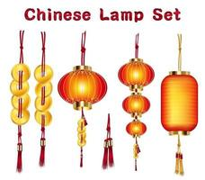 chinese lantern and gold set vector