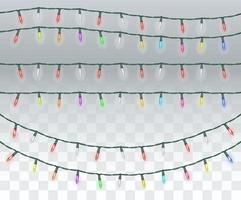 set of bright colorful christmas lights vector