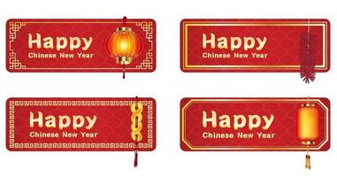 happy chinese new year signs with chinese lanterns vector